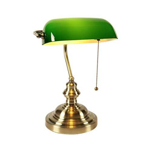Newrays Green Glass Bankers Schreibtischlampe